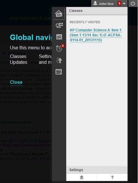 Screen capture of the expanded Global Navigation menu.