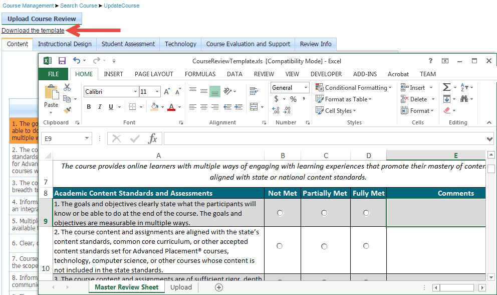 "Screen capture of the Update Course page with an arrow pointing to the ""Download the template"" link. The Excel template is also displayed."