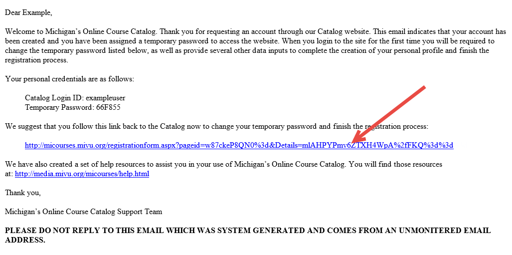 Screen capture of the body of the Registration Email. An arrow points to catalog link.