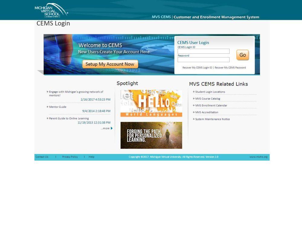 Customer Enrollment Management System (CEMS) Login