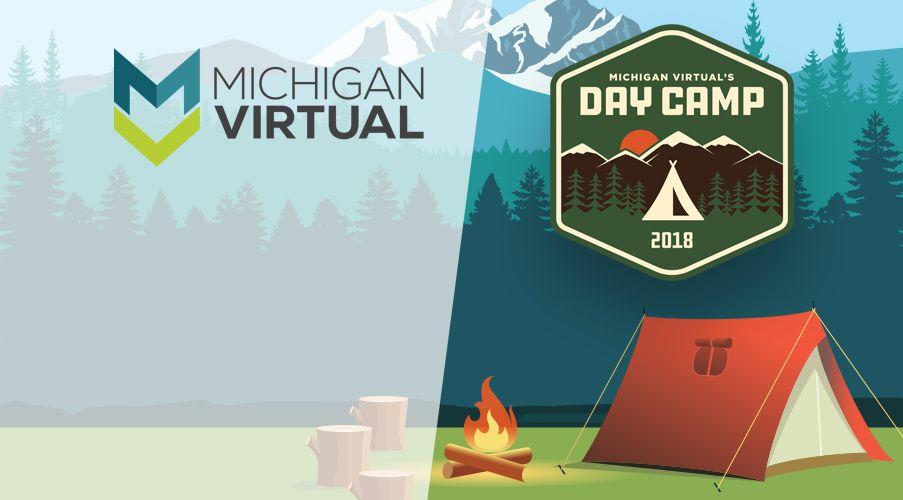 Day Camp badge and tent cartoon artwork