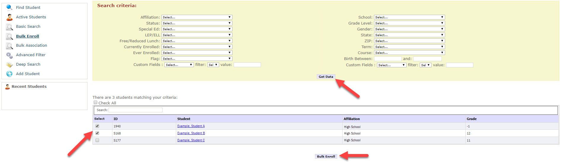 By default the Bulk Enroll page displays a search criteria section showing several drop-down fields to filter returned results when tapping the Get Data button. Once selected, a table appears showing available students to select. Arrows point to the Get Data button, the boxes that can be checked within the Select column and finally to the Bulk Enroll button below the table.