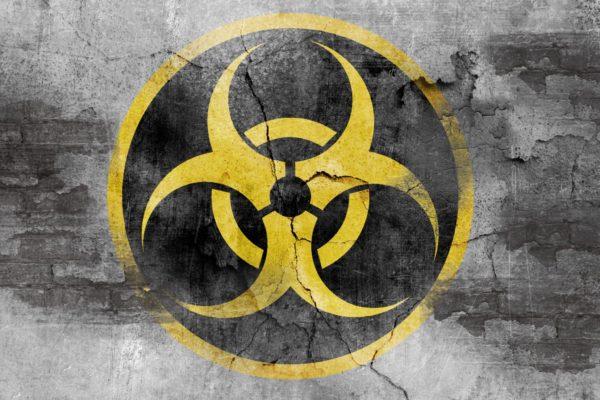 biohazard symbol on concrete wall