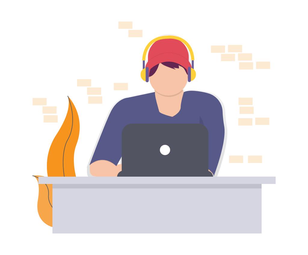 Illustration of boy on laptop