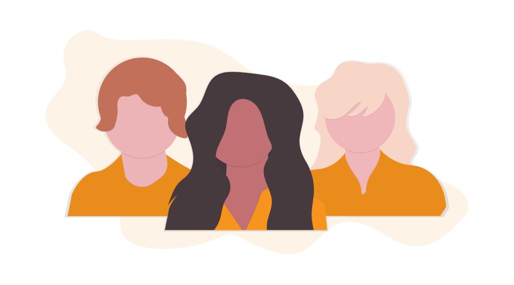 illustration of three people together