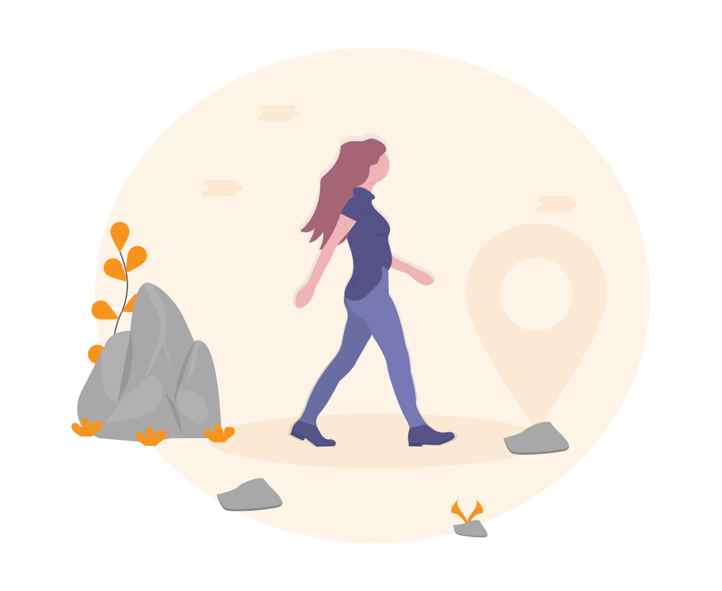 illustration of woman walking from point a to point b