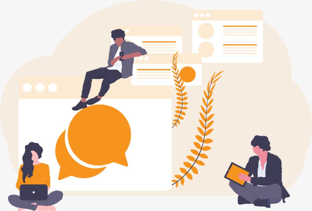 illustration of a three-way conversation using digital devices