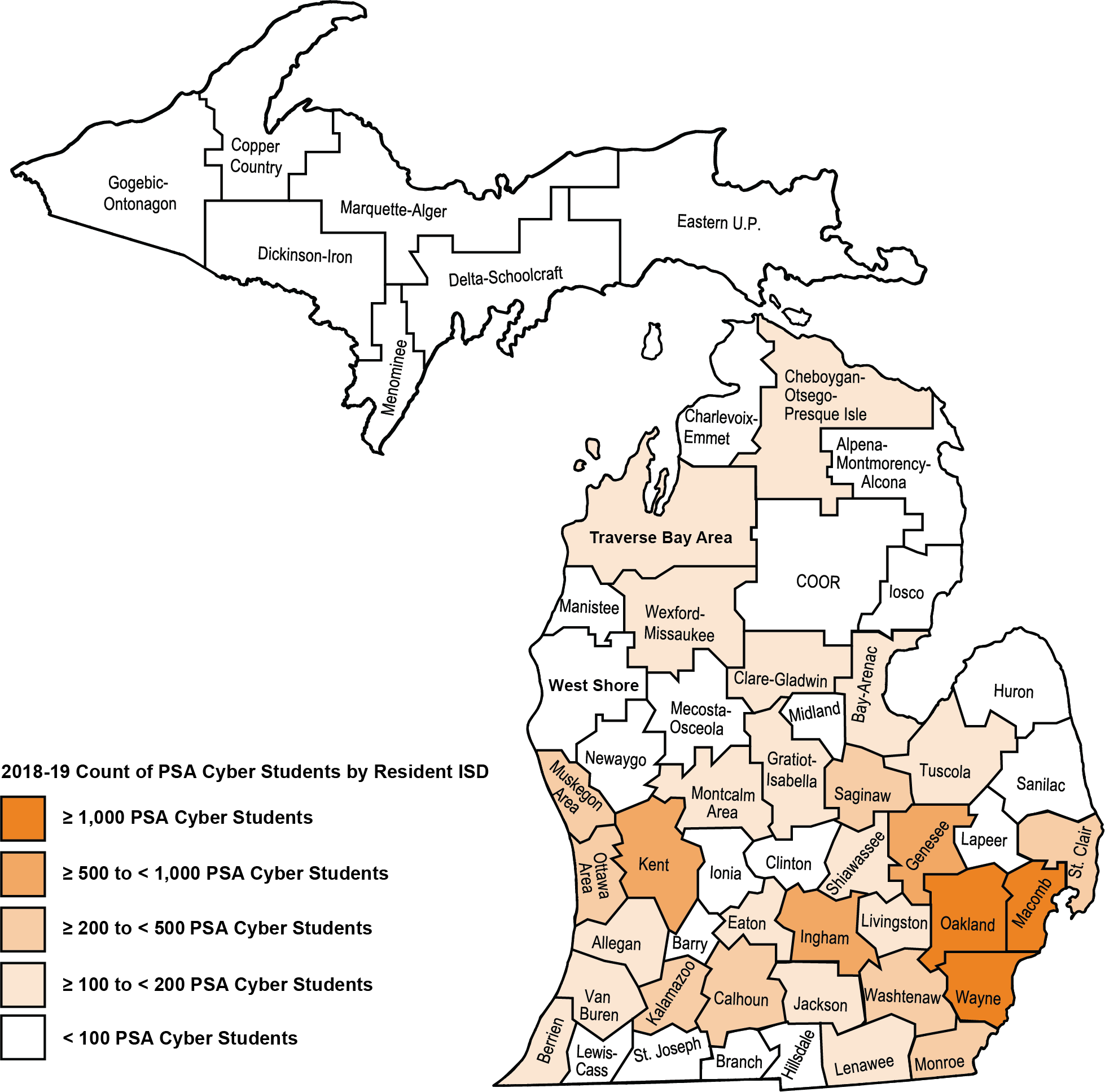 Map shows Michigan ISDs colored by the percentage of PSA cyber students by resident ISD. The majority of counties are white meaning they have less than 100 PSA cyber students in 2018-19. Counties with the highest percentage cluster around the Wayne, Oakland, Macomb, Ingham, and Kent counties.