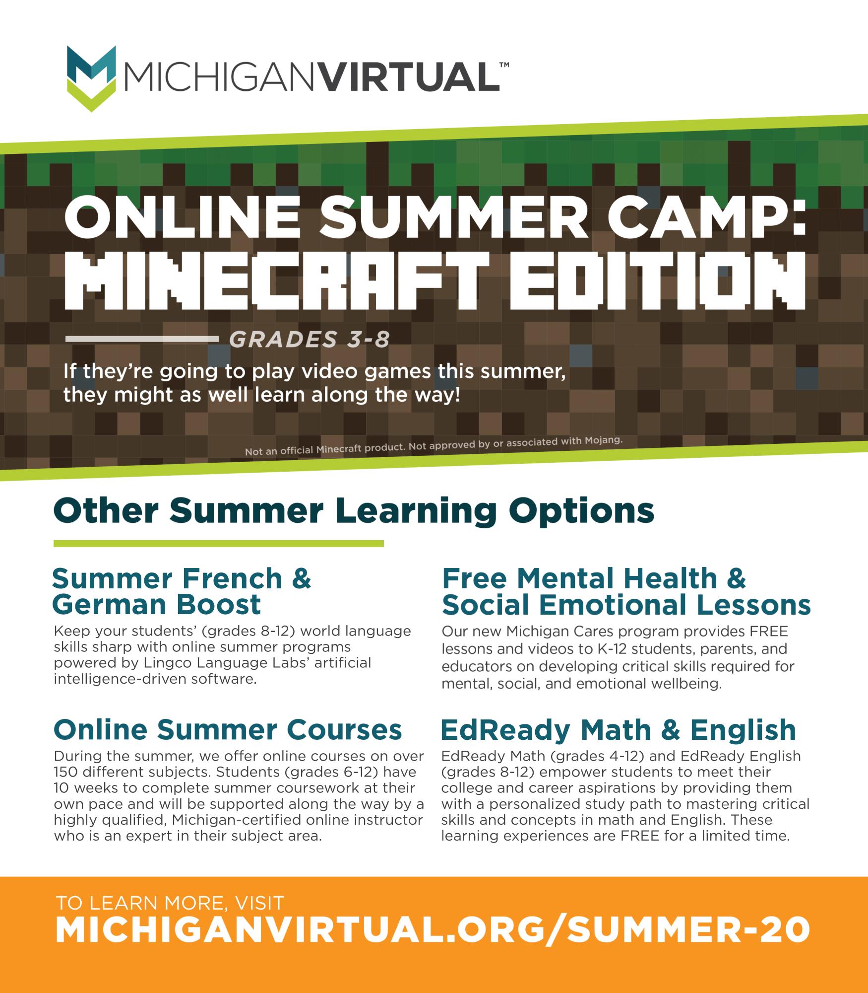 Michigan Virtual Summer Programs Flyer