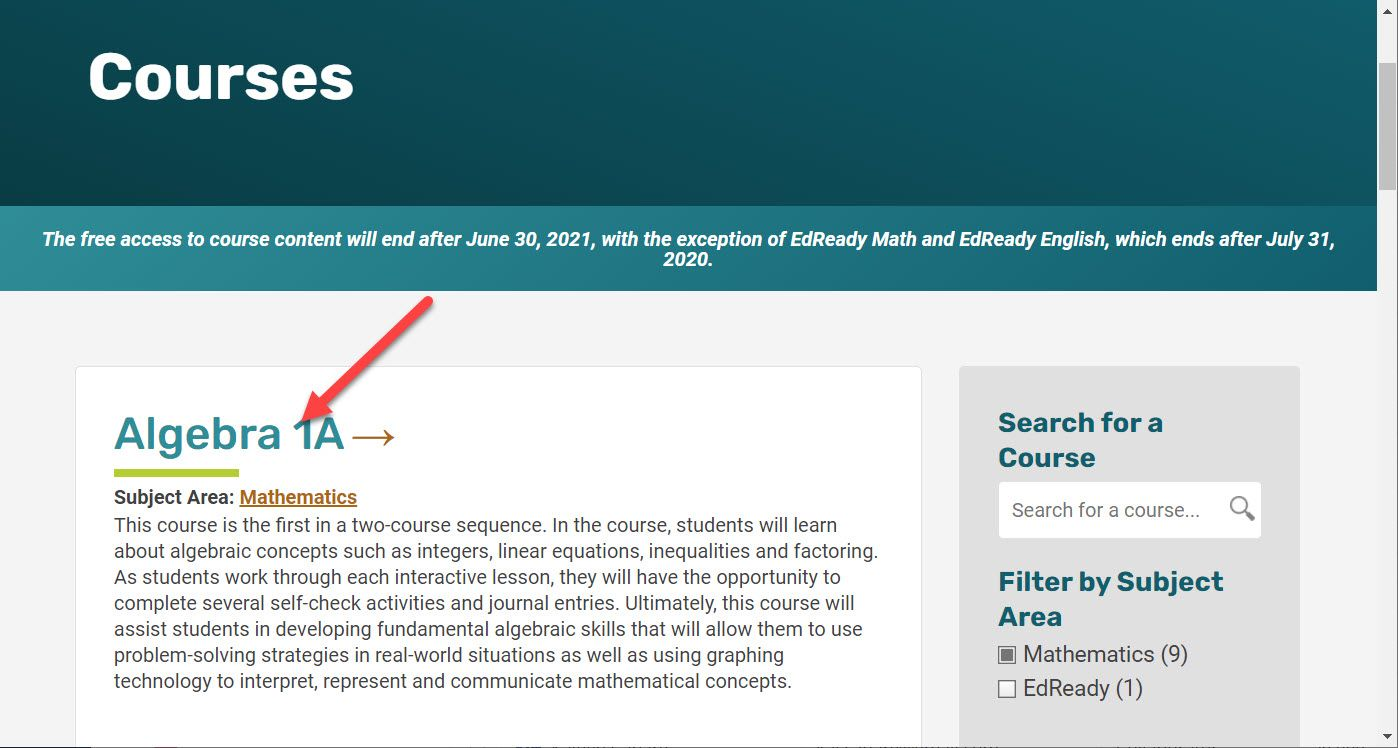 The Courses page is shown with the Algebra 1A course displayed. An arrow points to the title.