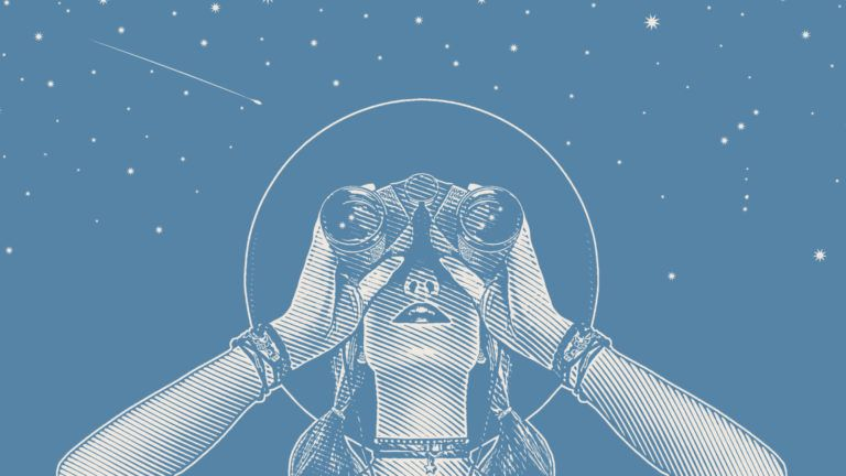 illustration of a young woman using binoculars to look at the sky
