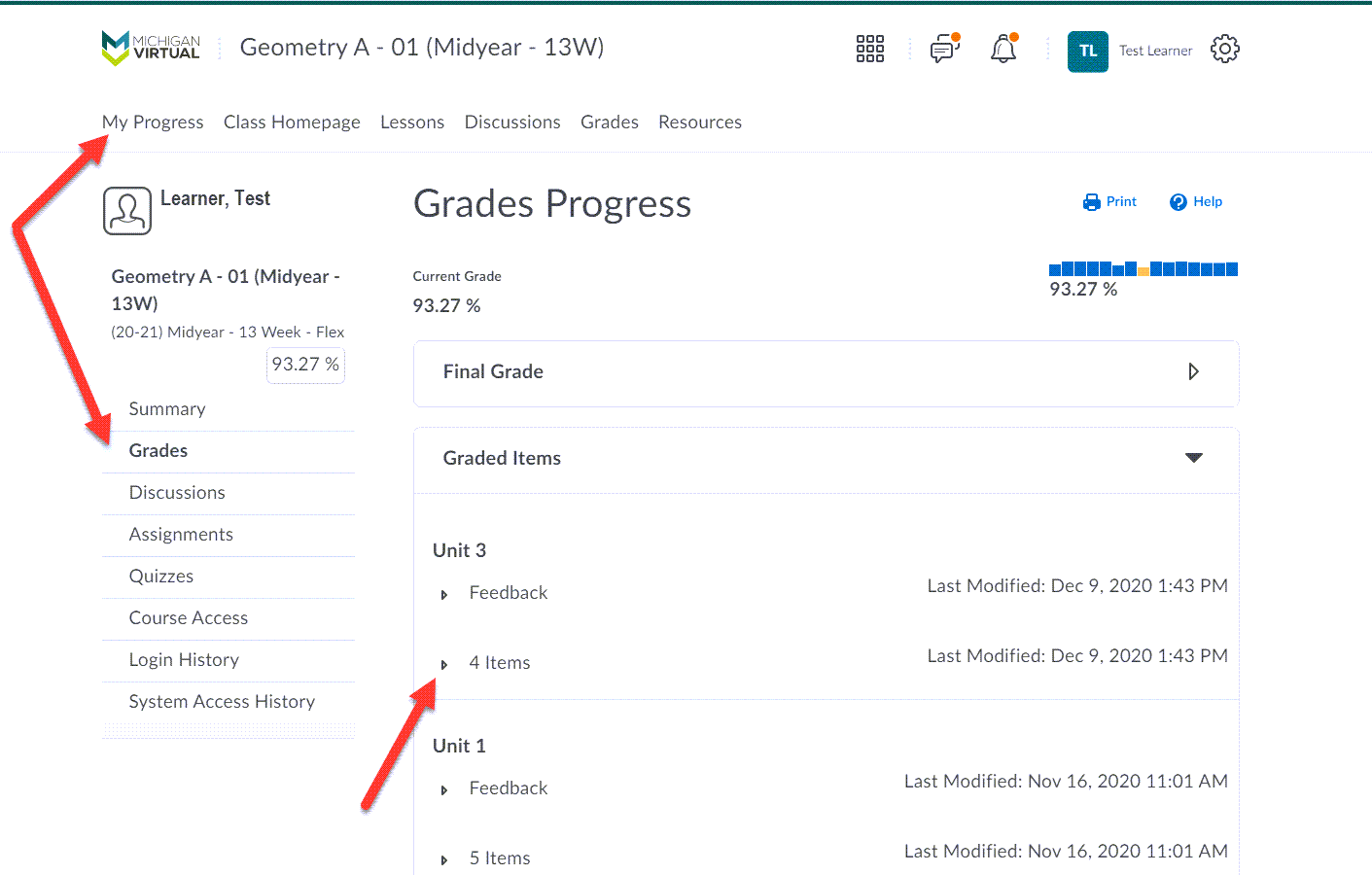 The Grades Progress page is displayed showing arrows pointing to My Progress in the navbar, the Grades option in the left menu and another pointing to the 4 Items drop-down within the Unit 3 Graded Items list.