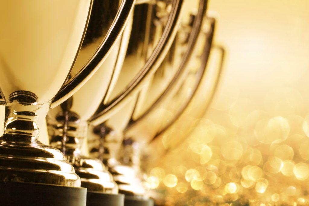 row of trophies