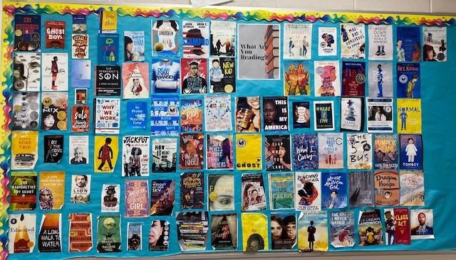 Photo of Erin's book bulletin board